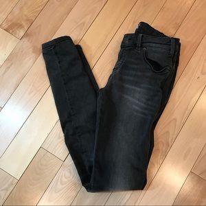 Free People Distressed Skinny Gray Black Jeans 26
